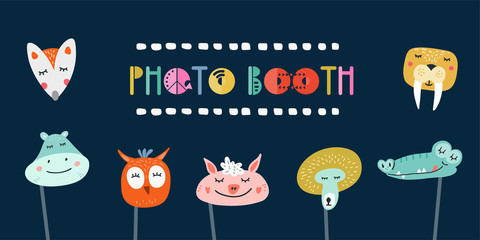 Kids photo booth props set vector illustration. Collection of animals masks