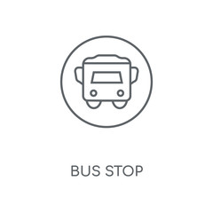 Bus stop linear icon. Bus stop concept stroke symbol design. Thin graphic elements vector illustration, outline pattern on a white background, eps 10.