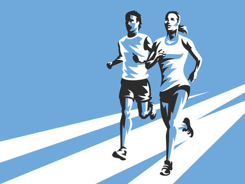 Woman and man running on the road. Modern sports illustration on blue background. Easy to use and edit.