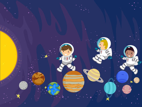 Stickman Kids Space Planet Play Illustration