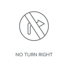 No turn right linear icon. No turn right concept stroke symbol design. Thin graphic elements vector illustration, outline pattern on a white background, eps 10.