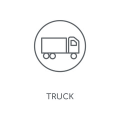 Truck linear icon. Truck concept stroke symbol design. Thin graphic elements vector illustration, outline pattern on a white background, eps 10.