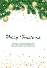 Banner with vector christmas tree branches and space for text. Realistic fir-tree border.