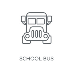 School bus linear icon. School bus concept stroke symbol design. Thin graphic elements vector illustration, outline pattern on a white background, eps 10.