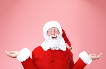 Portrait of happy Santa Claus on soft colour background with copyspace,3d rendering