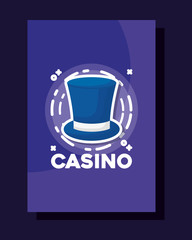 top hat frame gamble casino concept