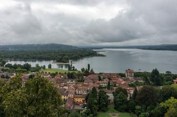 View to Angera town's embankment of lake Maggiore form Rocca di Angera castle, Italy