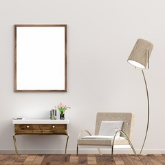 Blank poster on white wall, living room, vintage style. 3D Rendering