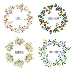 Floral wreath set with different flowers and berries for the cards, wedding or holiday. Vector graphic illustration