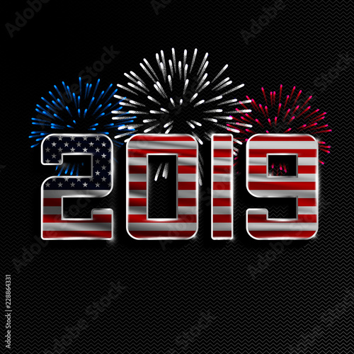 happy new year and merry christmas 2019 new year background with national flag of usa