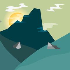 mountain stones sun sky natural landscape