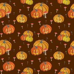 Magic gouache pumpkin, halloween