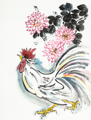 rooster and chrysanthemum