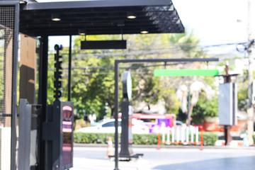 Abstract blur drive thru fast food restaurant.