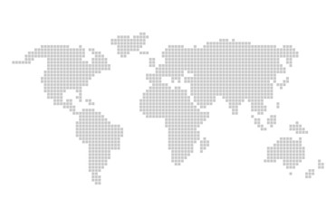 Pixel world map design. Grey pixels vector world map in squares.