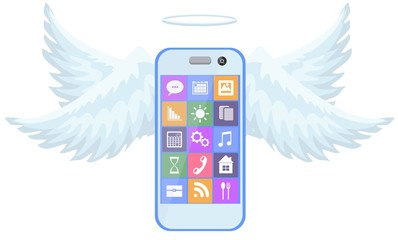 Mobile phone flight on blue wings illustration. Stock flat vector illustration.