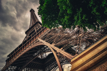 View of Eiffel tower in Grungy dramatic style, Paris