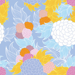 Colorful floral seamless background pattern.Wallpaper, pattern fills, web page background,surface textures, textile design template. Vector illustration