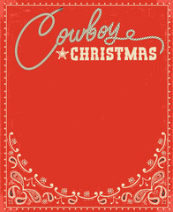 Western red christmas card with decorative text