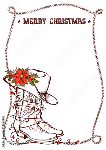 Western Christmas greeting card with cowboy traditional boots and ...