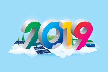 Happy new year 2019 design with eco energy concept. Vector illustration