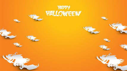 Halloween background with witch, and broomstick in paper art carving style. banner, poster, Flyer or invitation template party. Vector illustration.