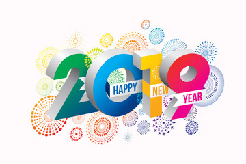 Happy new year 2019 background. Vector illustration of Colorful fireworks.