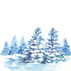 Winter forest landscape with fir trees under snow. Watercolor illustration for greeting cards.