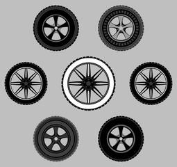 set wheel car tire black white gray monochrome