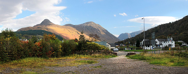 Panoramic view of Glencoe Village. Lochaber, Highlands, Scotland, UK.