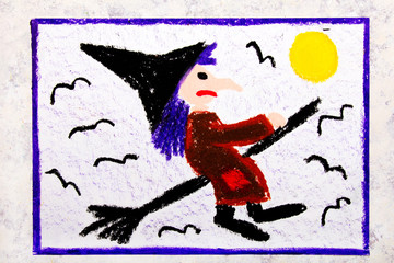 Colorful hand drawing: Old ugly witch flying on a broom. Halloween drawing on white  background
