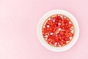 Strawberry Tart with Cake Plate and Pink Background