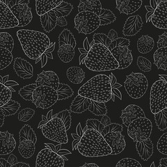 Strawberry. Background, wallpaper, seamless. Sketch. On a white background.