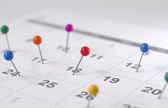 calendar page with drawing-pins,3d rendering,conceptual image.