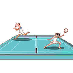 couple practicing tennis in court