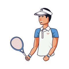 man tennis playing with racket and cap sport