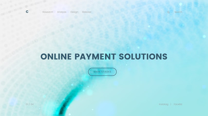 Landing page template with a blue particles background - Online payment solution, can be used for ecommerce, banking and virtual sales theme web sites