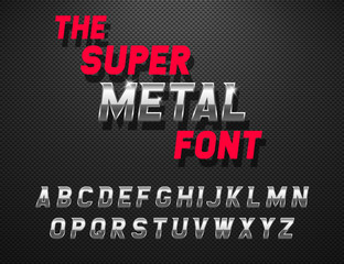 Vector metal alphabet. Dynamic chrome font on the carbon background.