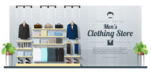 Interior background of modern men clothing store , vector , illustration