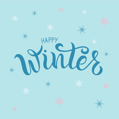 Vector illustration of happy winter text for typography poster, logotype, flyer, banner, greeting card or postcard.