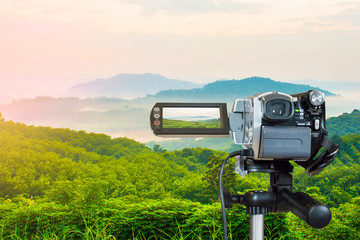 Video cameras look out to mountain