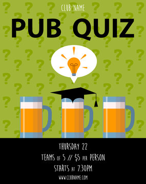 Pub quiz with beer cup. Quiz night announcement poster design web banner background vector illustration. Modern pub team game. Questions game