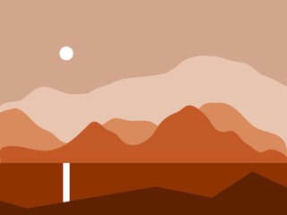 Landscape with mountains vector illustration