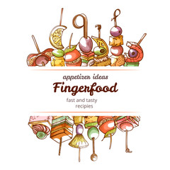 Canape finger food hand drawn restaurant poster