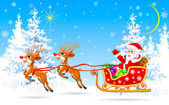 Santa on sleigh with reindeer in winter forest