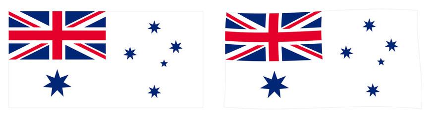Commonwealth of Australia naval flag variant (Australian White Ensign). Simple and slightly waving version. Fotomurales