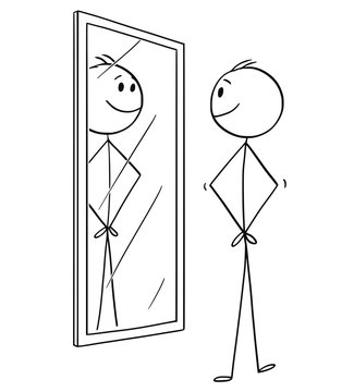 Cartoon stick drawing conceptual illustration of smiling cheerful man looking at himself in the mirror.