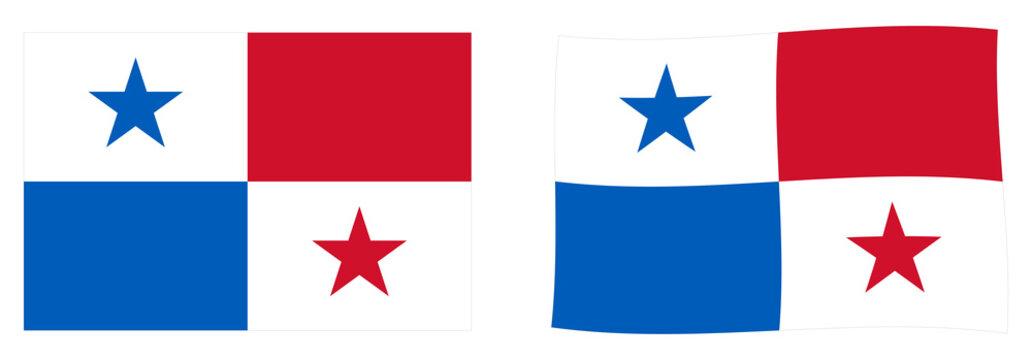Republic of Panama flag. Simple and slightly waving version.