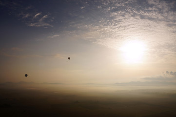 Beautiful view of the island of Mallorca, from a height, hot air balloon, Spain