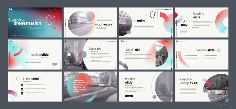 Presentation template. Gradient elements for slide presentations on a white background. Use also as a flyer, brochure, corporate report, marketing, advertising, annual report, banner. Vector